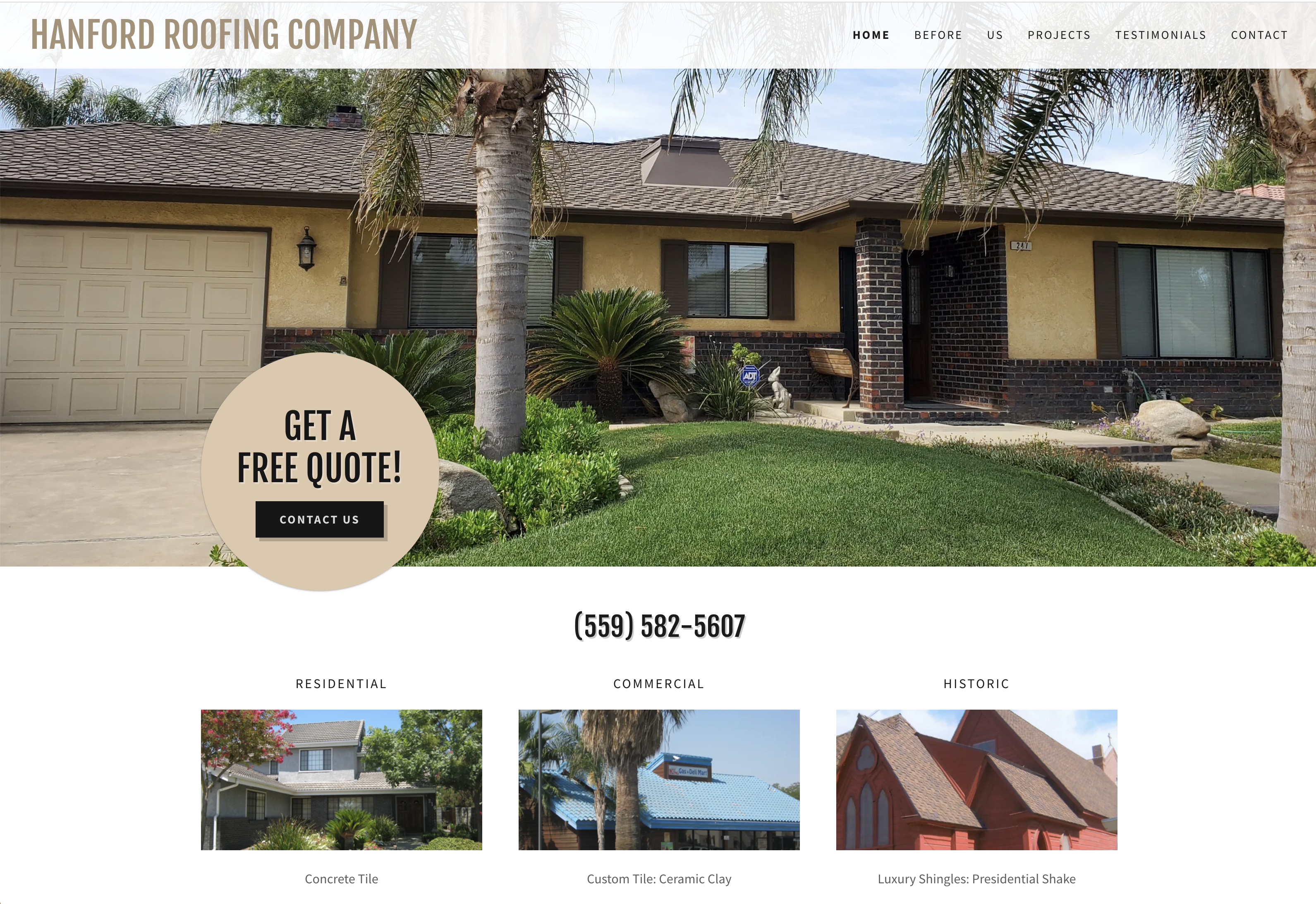 Hanford Roofing Web Design