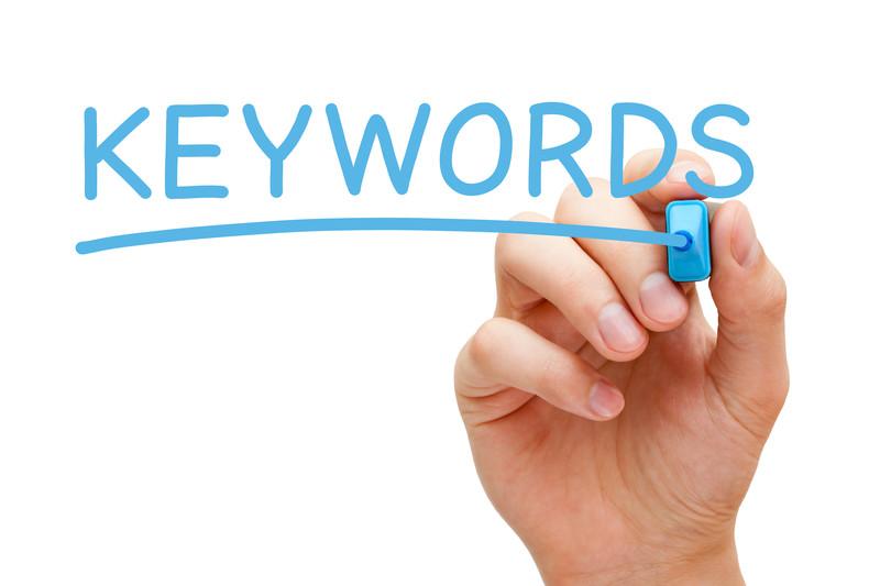Keywords written with blue marker.