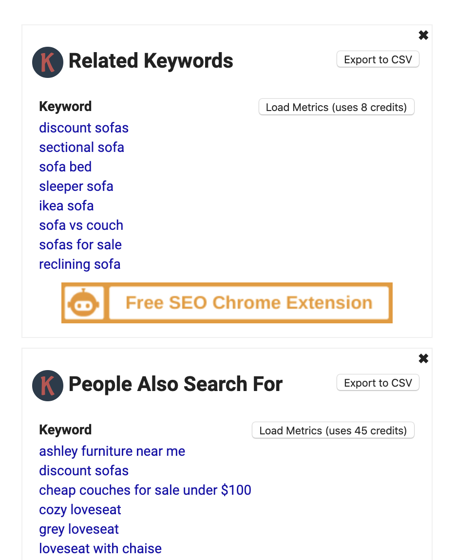Sample of related keywords for a search